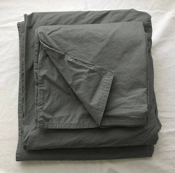 Softly Washed 100% Cotton Poplin Sheet Set-Coal