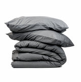 Softly Washed 100% Cotton Poplin Duvet Set-COAL