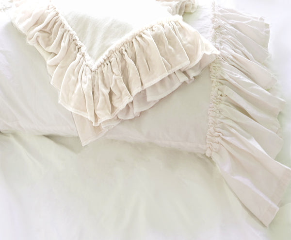 Poplin Tatter Ruffle PIllowcase  - Creme or White