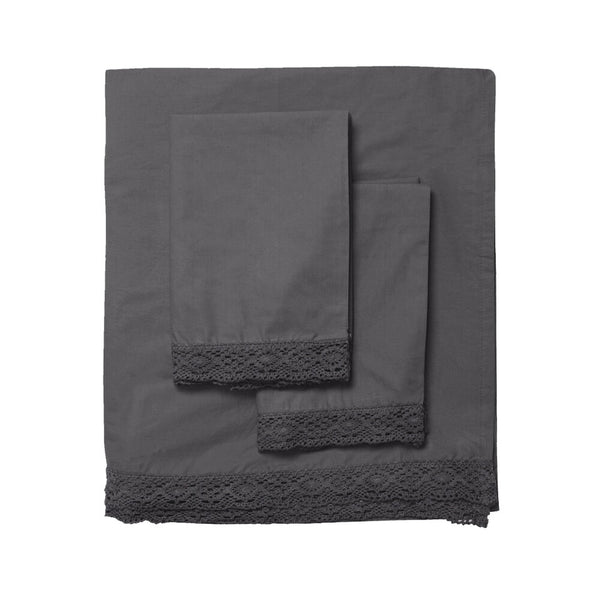 Elle Crochet Edge Sheet Set - Coal