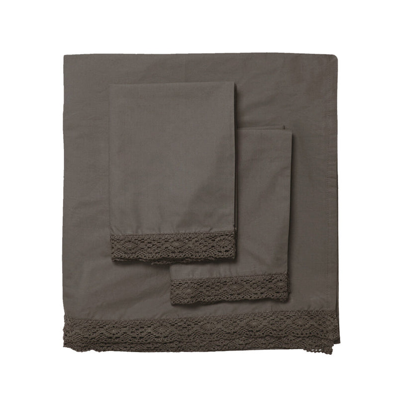Elle Crochet Edge Sheet Set - Cocoa