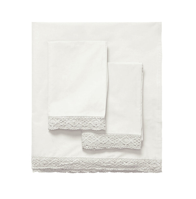 Elle Crochet Edge Sheet Set - Creme