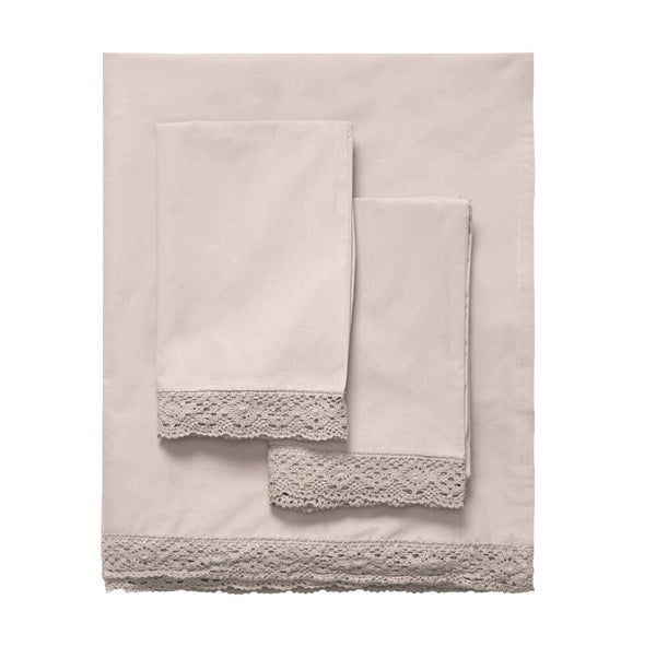 Elle Crochet Edge Sheet Set - Soft Nude