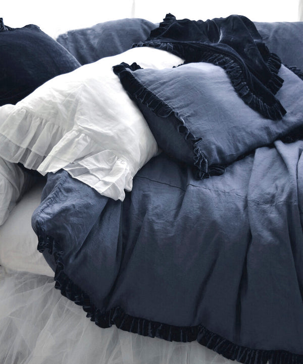 Washed Velvet Ruffle 3 Pc Duvet Set - Indigo