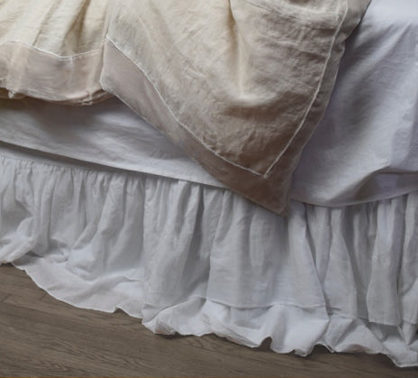 Estelle Double Ruffle Voile Bedskirt-White