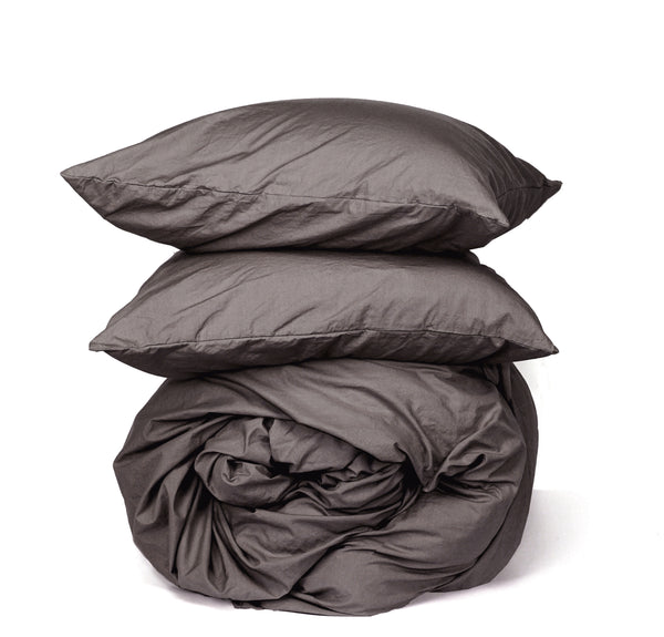 Softly Washed 100% Cotton Poplin Duvet Set-Earth