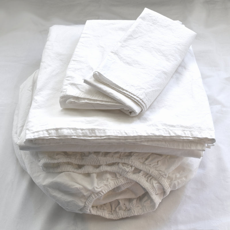 Softly Washed 100% Cotton Poplin Sheet Set-WHITE
