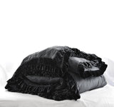 Washed Velvet Ruffle 3 Pc Duvet Set - Coal