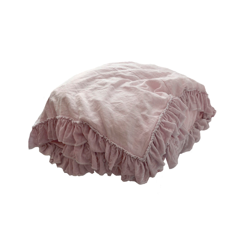 Velvet Tatter Ruffle Duvet - Rose Blush