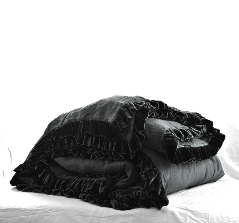 Washed Velvet Ruffle Collection - Coal