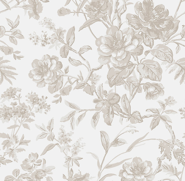 French Toile  Fabric- Soft Grey