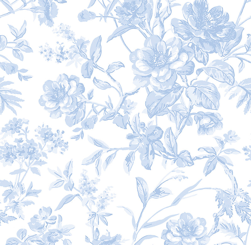 French Toile Printed Fabric-Soft Blue