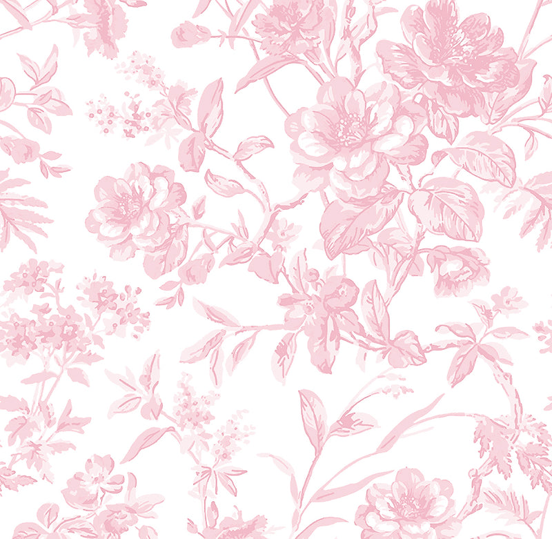 French Toile Printed Fabric-Soft Rose