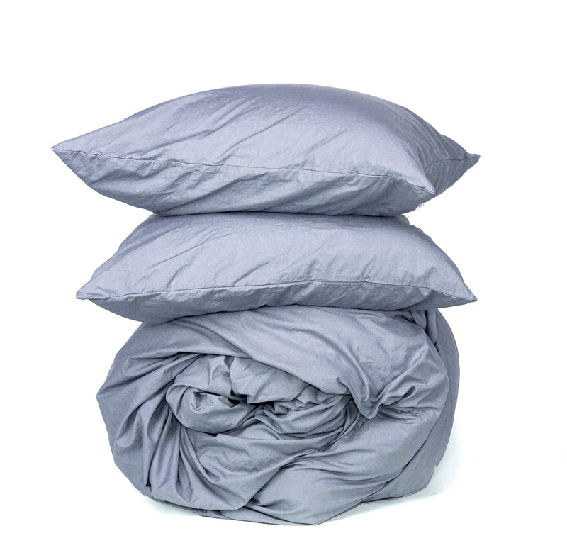 Softly Washed 100% Cotton Poplin Duvet Set-Chambray