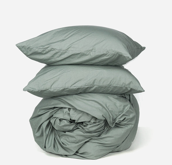Softly Washed 100% Cotton Poplin Duvet Set-Soft Moss