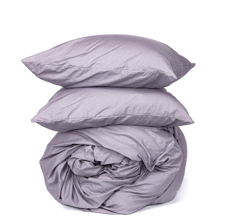 Softly Washed 100% Cotton Poplin Duvet Set-Soft Haze