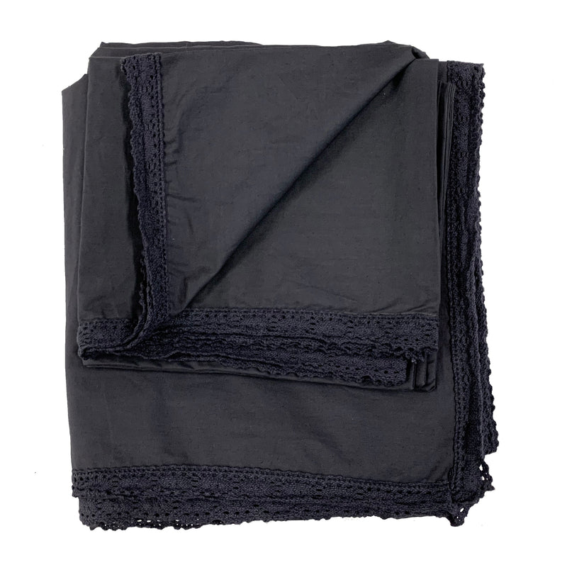 Chelsea Crochet 100% Garment Wash Cotton Poplin Duvet Set-Midnight Blue