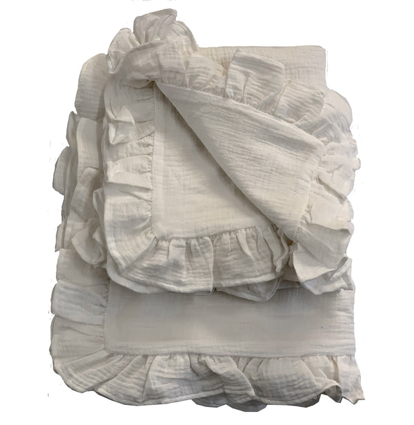 Aimee Pucker Ruffle Cotton Duvet Set-Creme