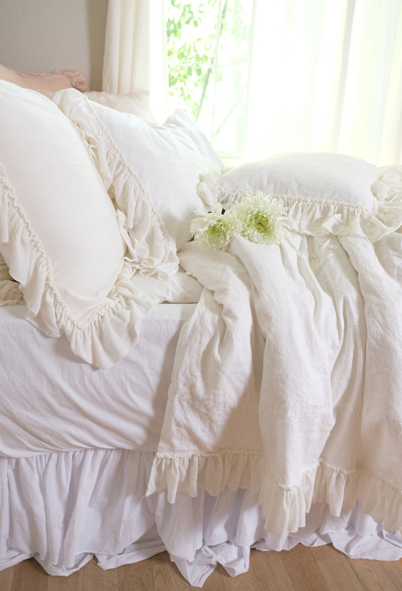 Sample #17 Silk Velvet Tatter Ruffle Linen Twin Duvet - Creme