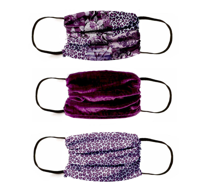 NEW! Silk Safari Patchwork Masks -3 PC SET- DEEP BERRY
