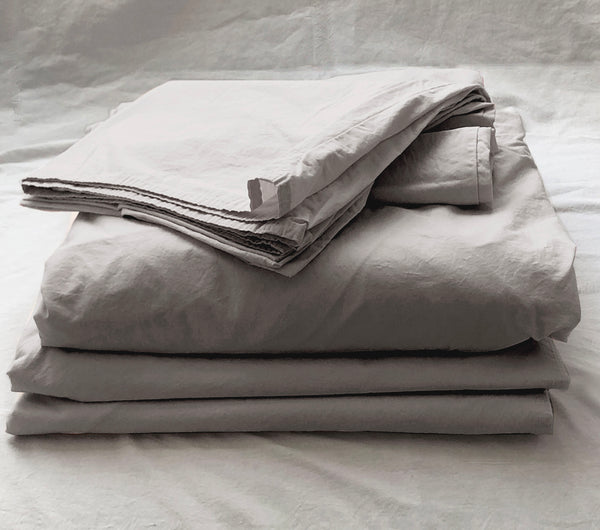 Softly Washed 100% Cotton Poplin Sheet Set-Soft Grey