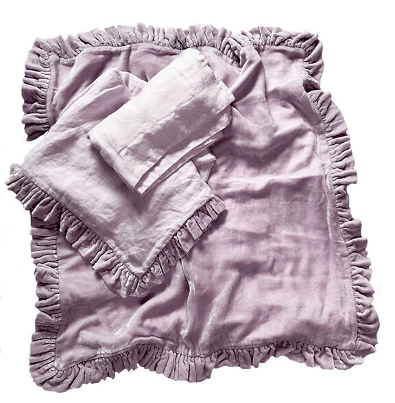 Velvet Ruffle Washed Linen Throw - Lilac