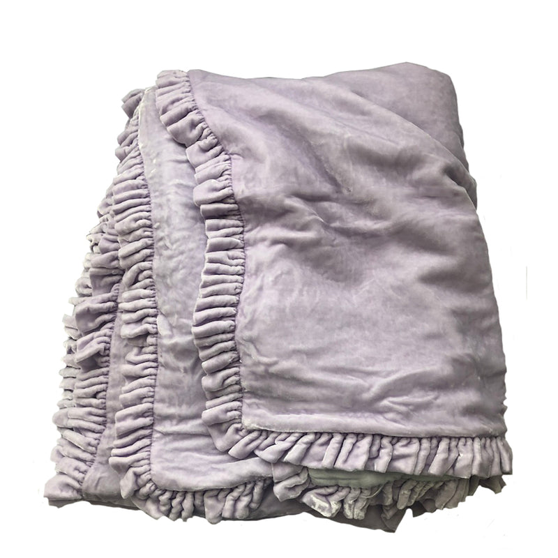 Washed Velvet Ruffle Throw - Lilac Large