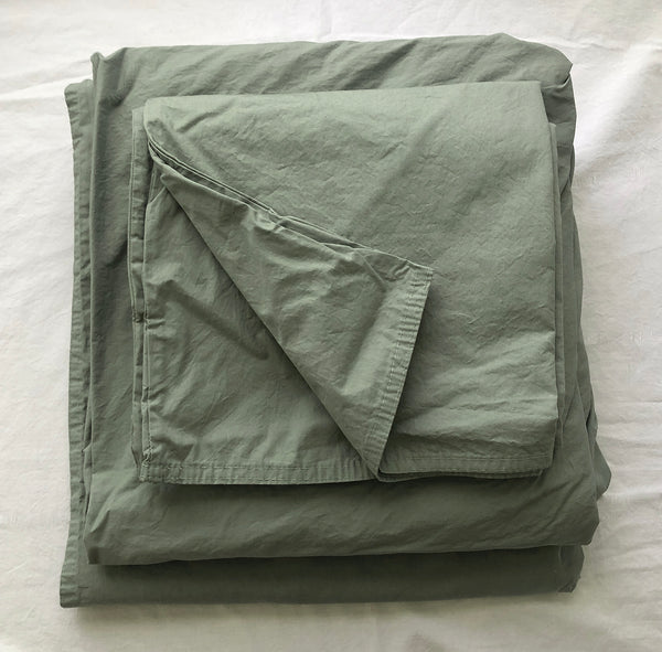 Softly Washed 100% Cotton Poplin Sheet Set-Soft Moss