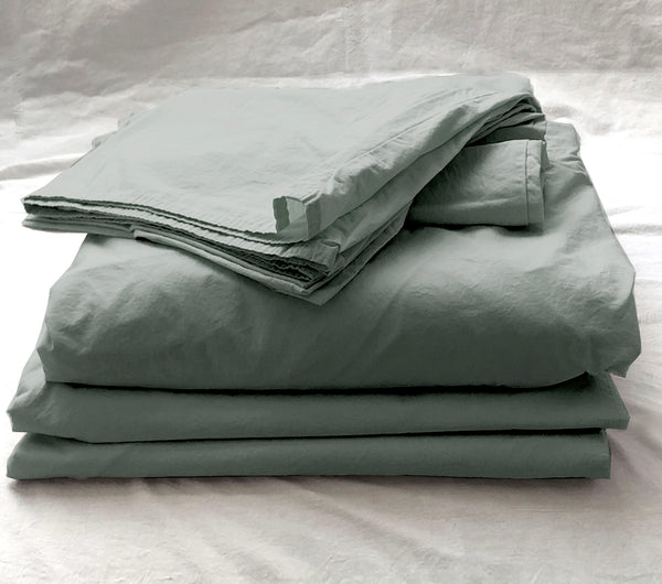 Softly Washed 100% Cotton Poplin Sheet Set-Moss