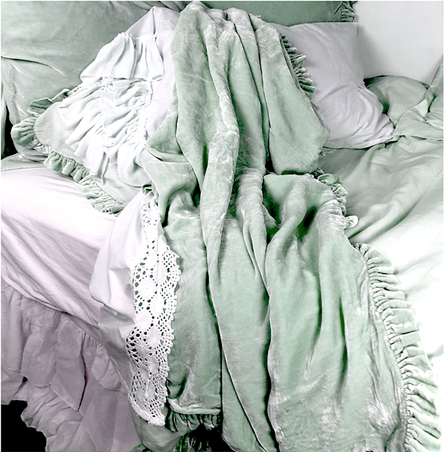 Velvet Ruffle Linen Throw - Mint
