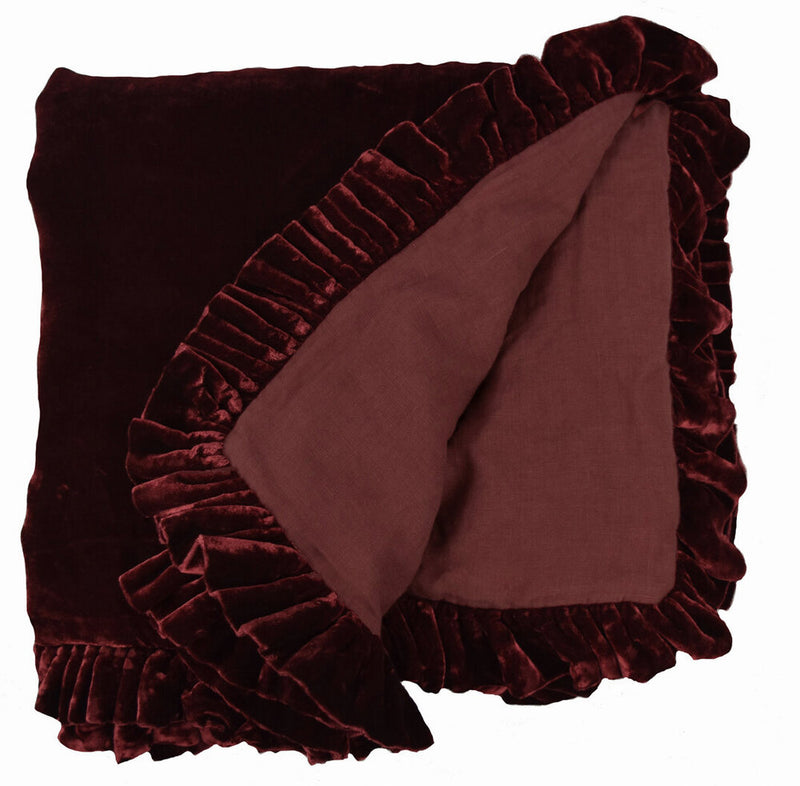Washed Velvet Ruffle Collection - Wine