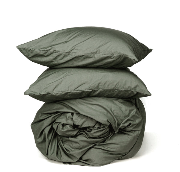 Softly Washed 100% Cotton Poplin Duvet Set-Olive Drab