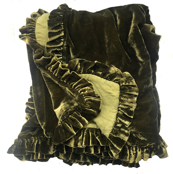Washed Velvet Ruffle Throw - Olive Medium