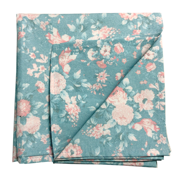 Petite Bouquet Printed Bandana-Soft Teal