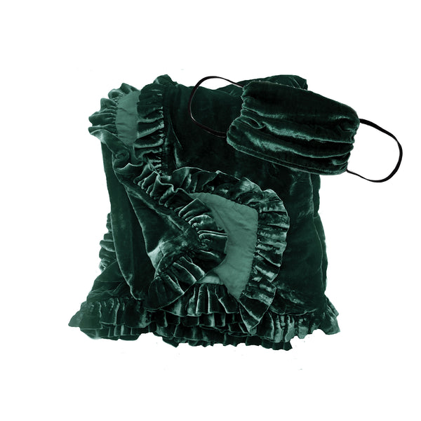 Silk Velvet Ruffle Throw and Mask Gift Set- Emerald