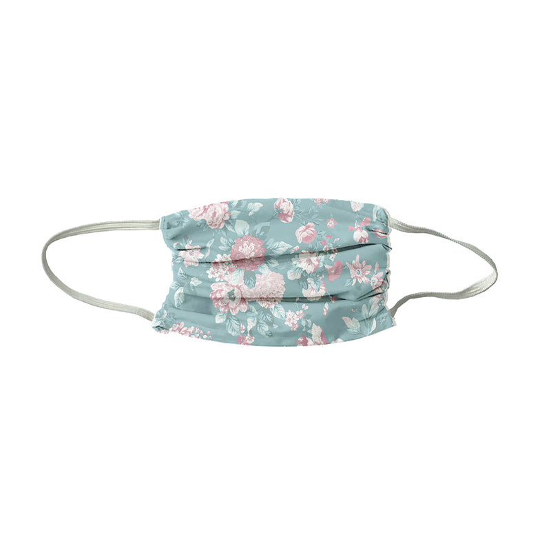 Petite Bouquet Print Face Mask- Soft Teal