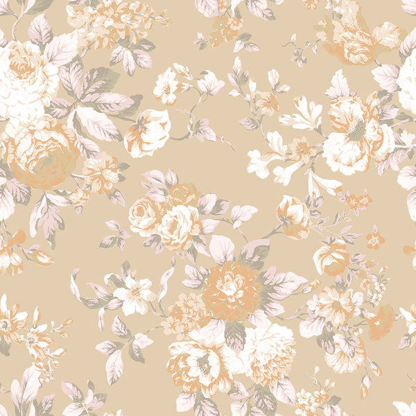 Petite Bouquet Floral Fabric-Soft Khaki