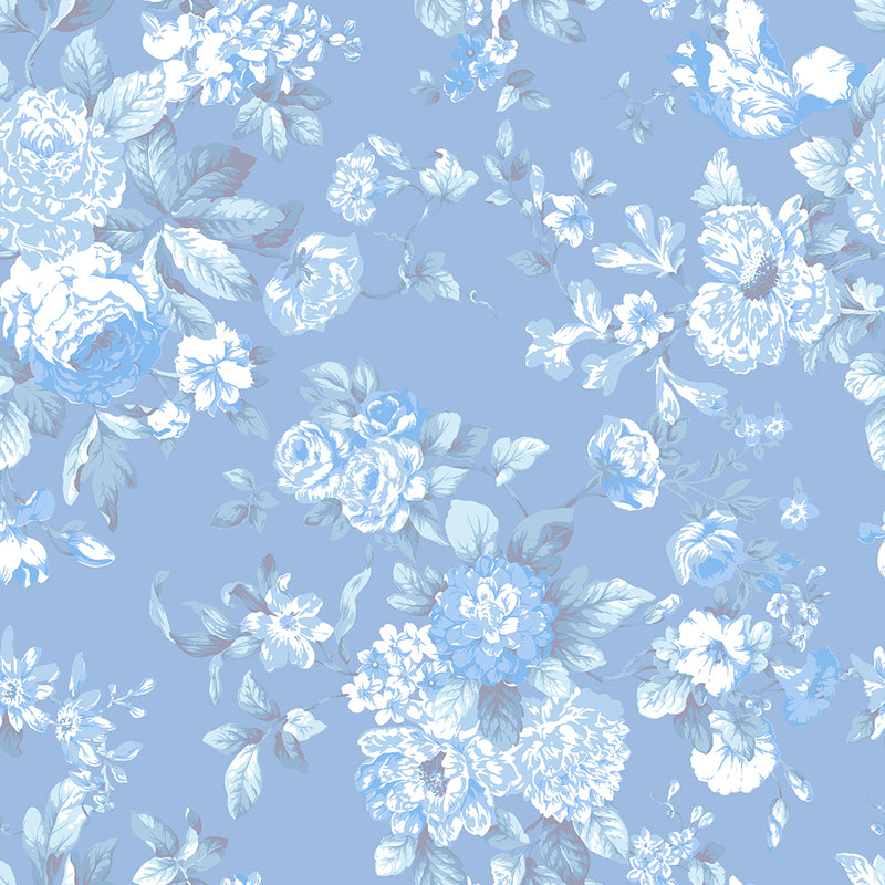 Petite Bouquet Floral Fabric-Chambray