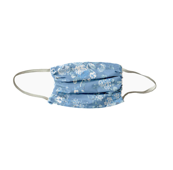 Petite Bouquet Print Face Mask-Chambray