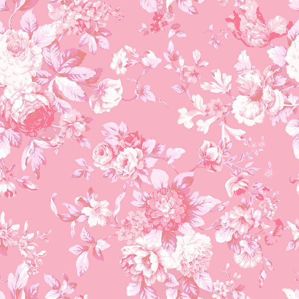 Petite Bouquet Floral Fabric-Strawberry