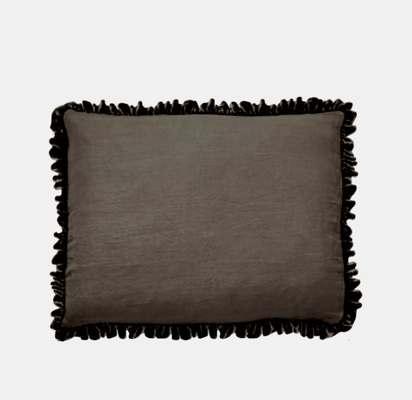 Washed Velvet Ruffle 3 Pc Duvet Set - Cocoa