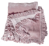 Silk Velvet Ruffle Throw - Rose Blush