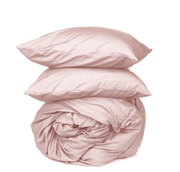 NEW! Softly Washed 100% Cotton Poplin Duvet Set- Soft Nude
