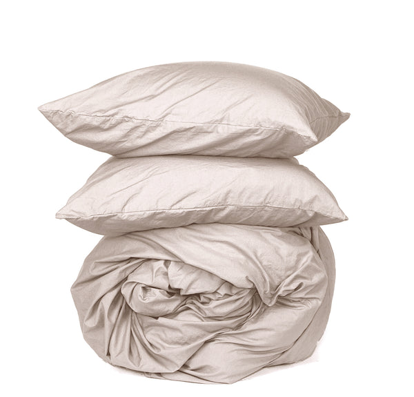 NEW! Softly Washed 100% Cotton Poplin Duvet Set- Teastain
