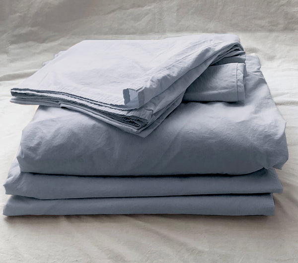 Softly Washed 100% Cotton Poplin Sheet Set-Soft Blue