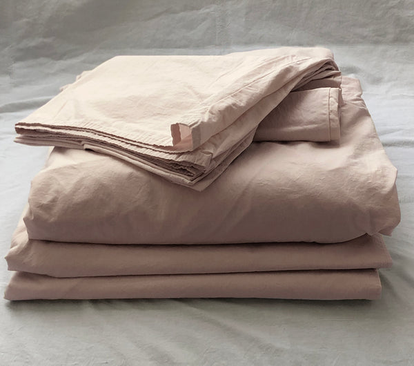 Softly Washed 100% Cotton Poplin Sheet Set-Soft Nude