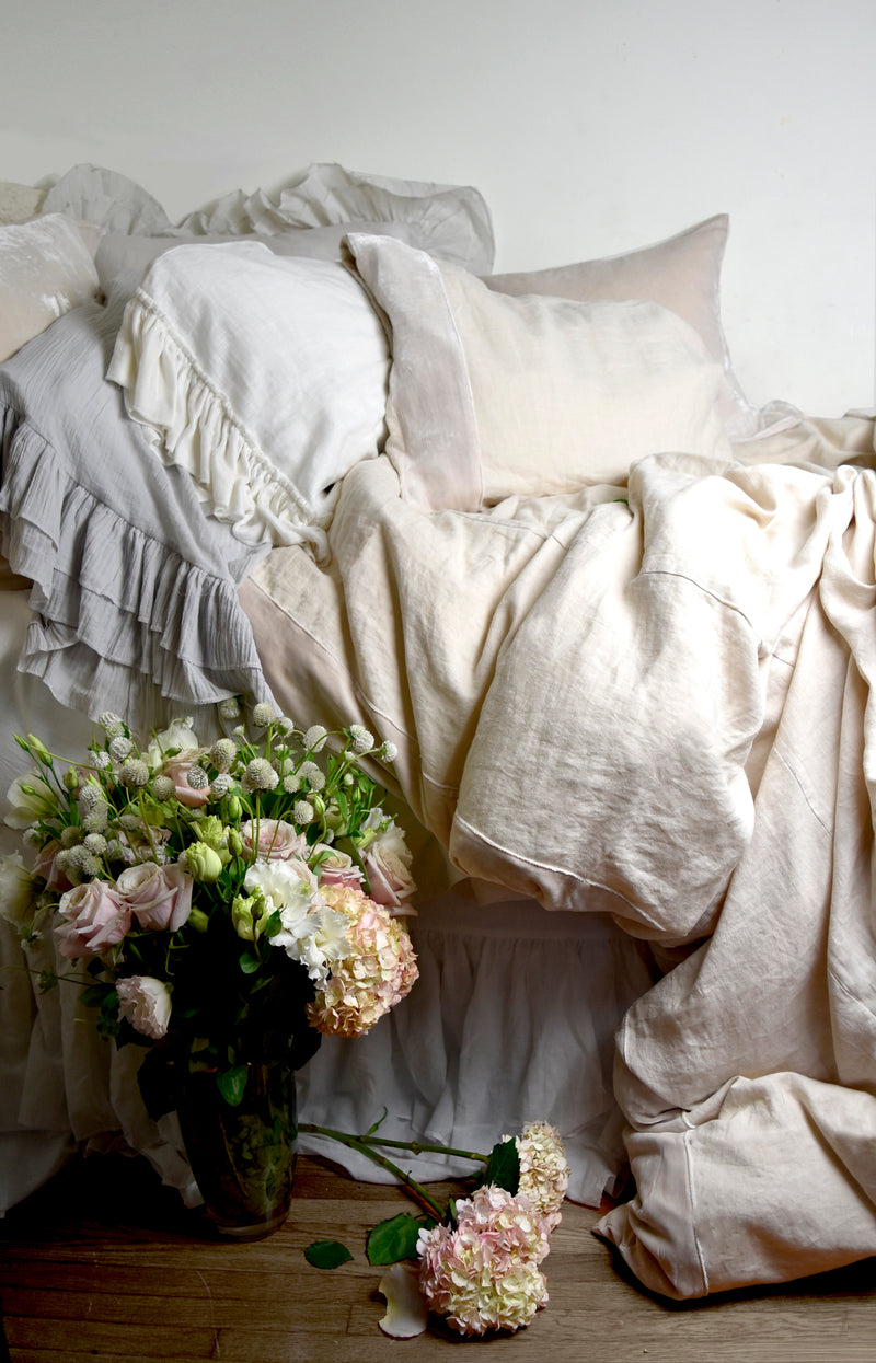 Washed Silk Velvet Border Linen Collection - Soft Nude