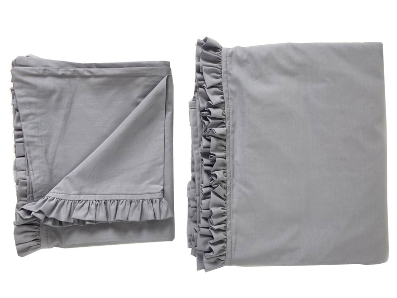 SAMPLE #17 Petite Ruffle Queen Sheet and Pillowcase Set-Soft Grey