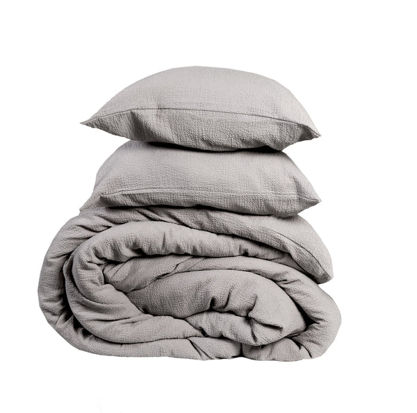 NEW! Super Comfy Soft Cotton Popcorn Cloud Texture Duvet Set -Mist Grey