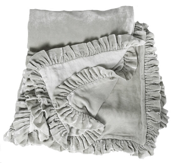 Washed Velvet Ruffle 3 Pc Duvet Set - Soft Grey